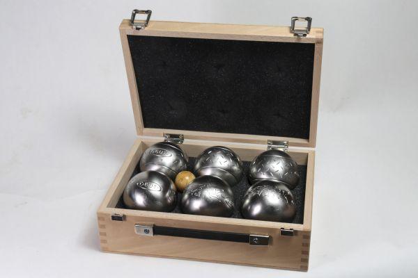 Holzkoffer mit 2 x 3 Satz OBUT Inox Freizeitkugeln