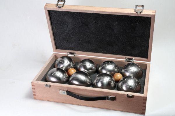 Holzkoffer mit 4 x 2 Satz OBUT Inox Freizeitkugeln